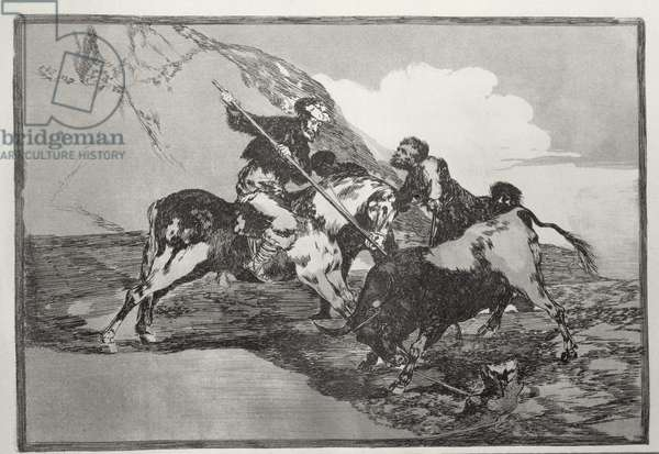 The way in which the ancient Spaniards hunted bulls on horse-back in the open country, plate 1 of 'The Art of Bullfighting', pub. 1816 (etching)