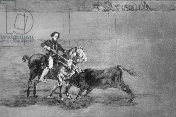 Manly courage of the celebrated Nicolasa Escamilla (La Pajuelera) in the ring at Saragossa, plate 22 of 'The Art of Bullfighting', pub. 1816 (etching)