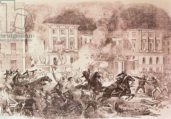 Populist Uprisings in Madrid, The Rioters Try to Set Fire to the Palace of Queen Maria Christina in 1854 (litho)