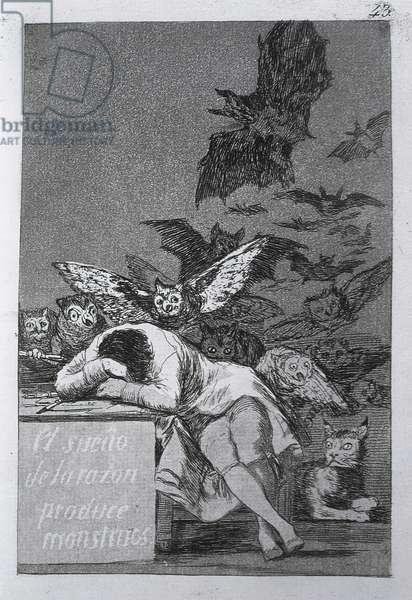 The sleep of reason produces monsters, plate 43 of 'Los caprichos', 1799 (etching and aquatint)