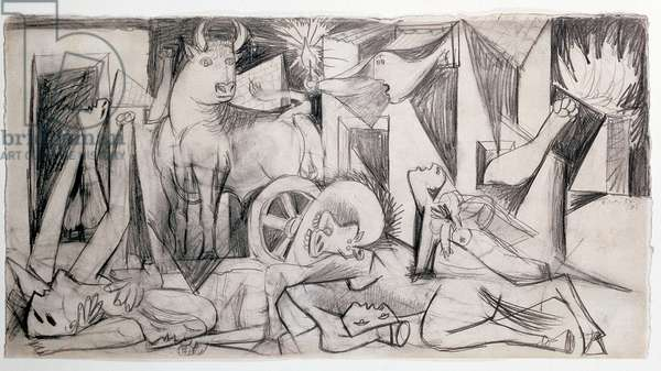 Preparatory drawing for Guernica, 1937 (pencil on paper)