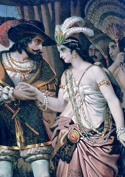 Hernan Cortes (1485-1547) and Dona Maria (colour engraving)