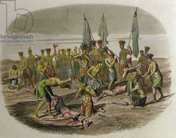 Dead Franciscan missionaries, dismembered and devoured by Caribbean Indians whom they had attempted to evangelise in 1516, 1850 (hand-coloured engraving)