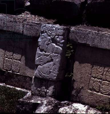 Detail of the exterior decoration of a Maya temple 7th-8th century (photo)