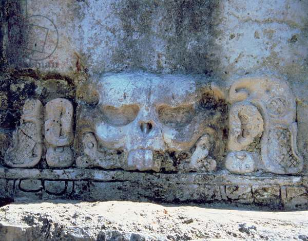 Detail of the skull relief in the Temple of the Skull, Maya 7th-8th century (sculpture)