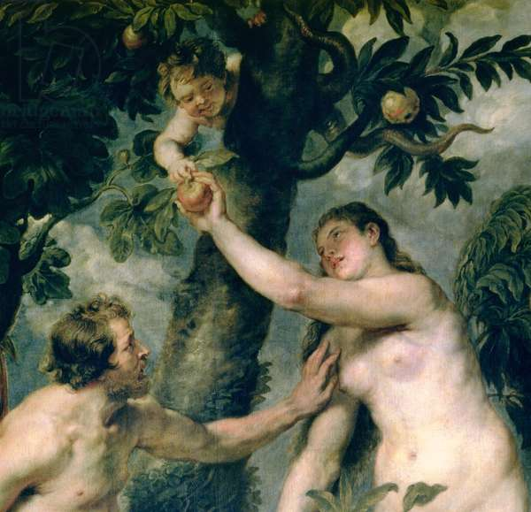 Adam and Eve (copied from the painting by Titian) (detail of 51710)