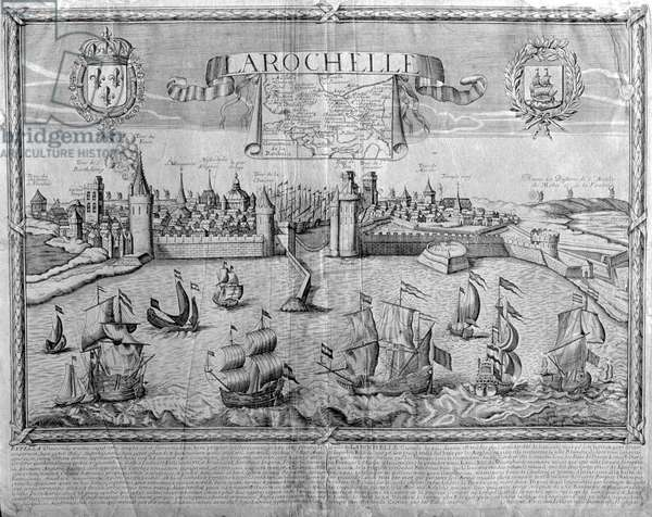 View of La Rochelle, signed by Jollain (engraving)