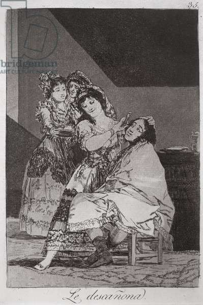 193-0082135 She fleeces him, plate 35 of 'Los caprichos', 1799 (etching)