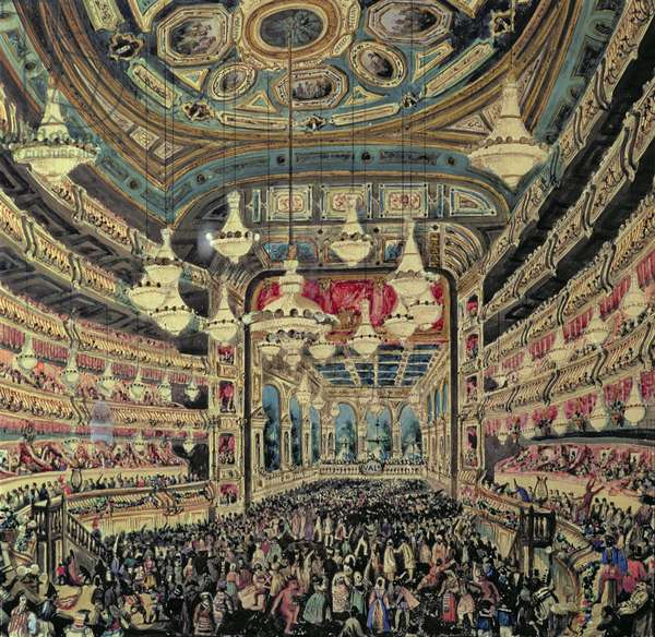 Interior view of the 'Great Lyceum' during a carnival before the fire which destroyed the theatre (oil on canvas)