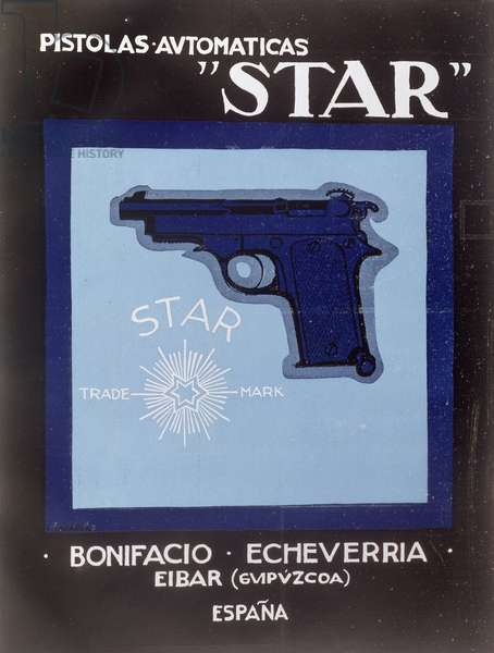 Poster advertising Star automatic pistols, 1921 (colour litho)