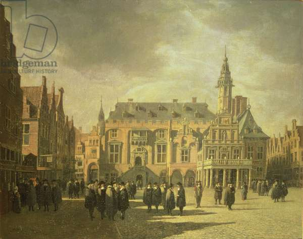 View of the Town Hall in the Market Square of Haarlem, 1671 (oil painting)