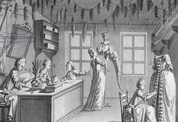 The workshop of a dressmaker, illustration from the Paris Encyclopedia, 1715 (engraving)