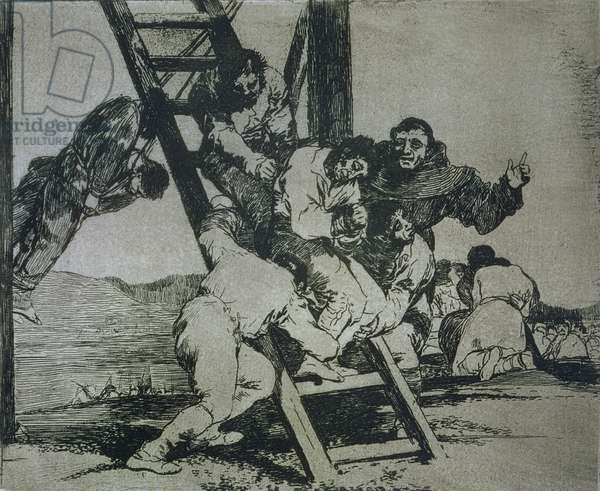 It's a hard step!, plate 14 of 'The Disasters of War', 1810-14, pub. 1863 (etching)