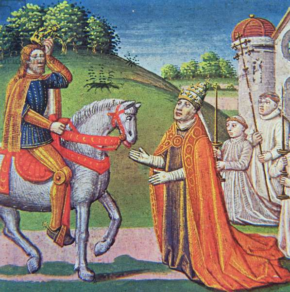 Pope Adrian I meeting Charlemagne, miniature from the 'Chronicles of France', printed by A.Verard, Paris, 1493 (hand-coloured print)