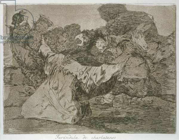 Charlatan's show, a caricature of the court surrounding King Ferdinand VII of Spain, plate 75 of 'The Disasters of War', 1810-14, pub. 1863 (etching)
