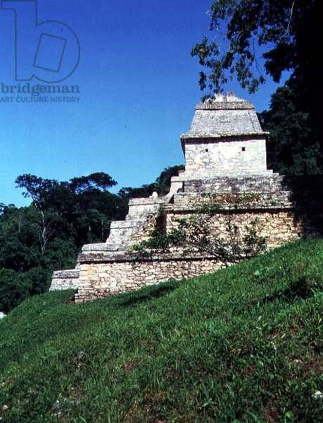 Side view of the Temple of the Inscriptions, Maya, 7th-8th century (photo)