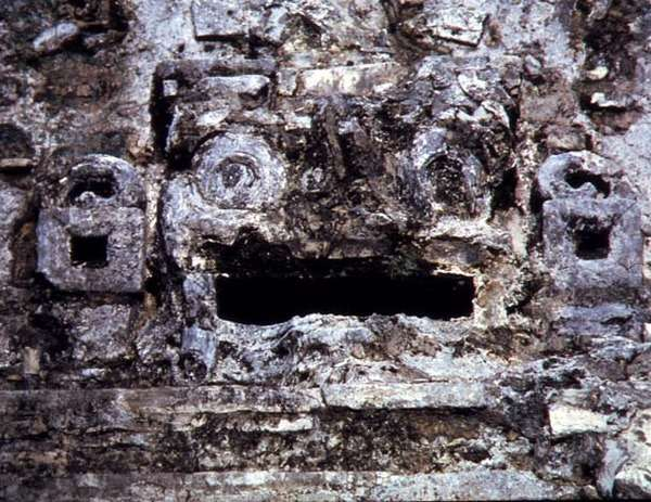 Detail of a relief depicting a plumed serpent or a ceremonial mask from the Palace, Maya, 7th-8th century (stone) (photo)