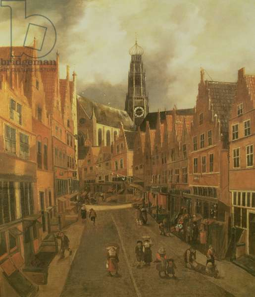 View of the 'Grote Houtstraat' (Great High Street) in Haarlem (oil on canvas)