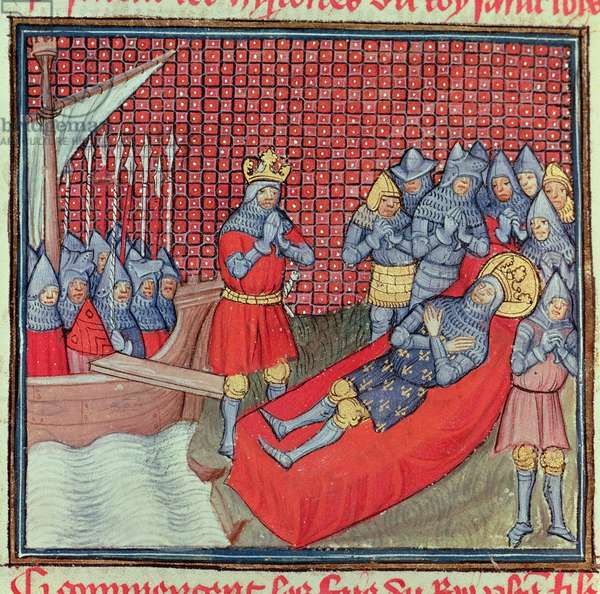 St. Louis dies of the plague on 25th August 1270 during the Crusade against Tunis, from the manuscript 'Grands Chroniques de France' (vellum)