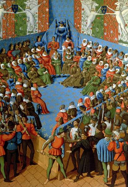 Verdict on Jean, Duke of Alencon, accused of having conspired with the English against the French, facsimile of a 15th century manuscript by Jean Fouquet (colour litho)