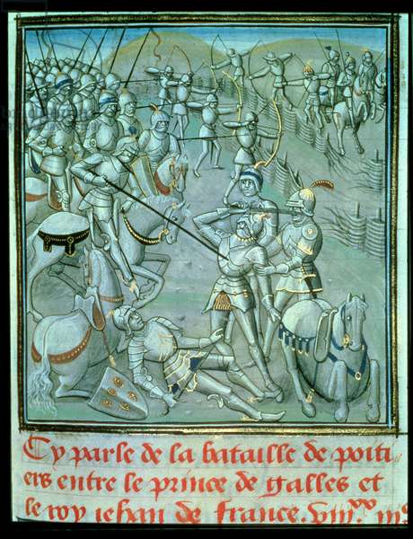 Battle of Poitiers, depicting the Prince of Wales and King Jean of France, 1356, from Froissart's Chronicle, late 15th century (vellum)