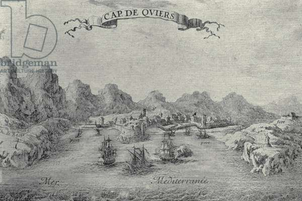 View of the port and fort of Cadaques during the negotiations for the Franco-Hispanic treaty of the Pyrenees in 1659 (engraving)