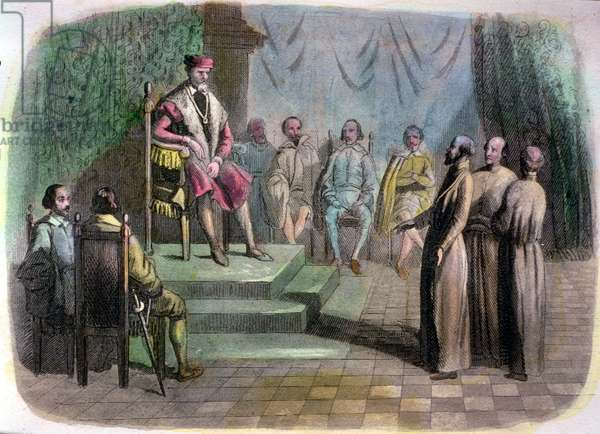 The Spanish State Council in 1518. Brother Juan de Quevedo (d.1519) and Bartolome de Las Casas (1474-1566) defending the cause of the Indians before Charles V (1500-58) (coloured engraving)