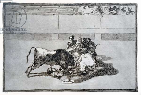 A picador is unhorsed and falls under the bull, plate 26 of 'The Art of Bullfighting', pub. 1816 (etching)