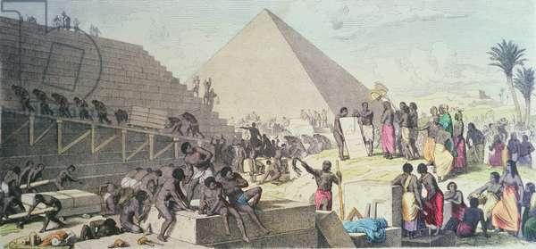 Construction of the Pyramids, 1862 (coloured engraving)