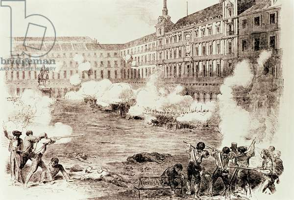 Disturbances in Madrid: Skirmish in the Main Square between Two Infantry Companies and a Guardia Civil Squad Against the Insurgents, 5th August 1854 (pen & ink on paper)