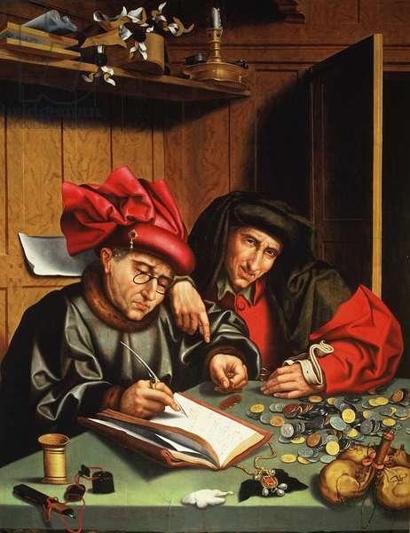 The Money Lenders (oil on oak panel)