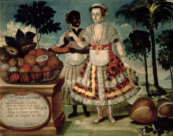 Distinguished woman with her negro slave, 1783 (panel)