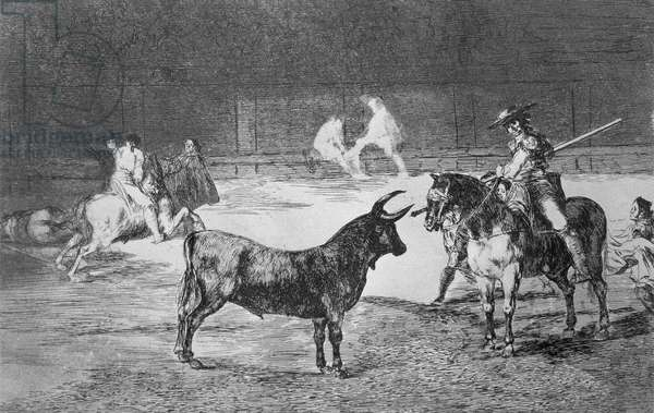 The celebrated picador Fernando del Toro draws the fierce beast on with his pike, plate 27 of 'The Art of Bullfighting', pub. 1816 (etching)