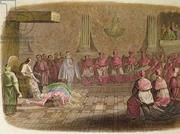 Japanese ambassadors prostrate at the feet of Pope Gregory XIII in 1585, 1850 (hand-coloured engraving)