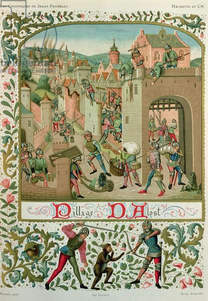 Sack of Aalst and Grammont by the inhabitants of Ghent in 1380, from a manuscript of 'Chroniques', by Jean de Froissart (c.1337-c.1405) (facsimile edition)