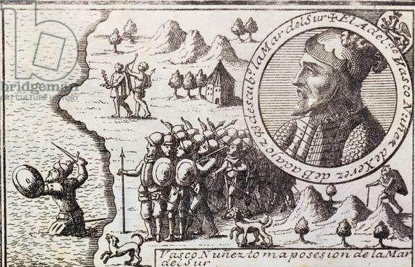 Vasco Nunez claims possession of the South Sea, 1726 (engraving)