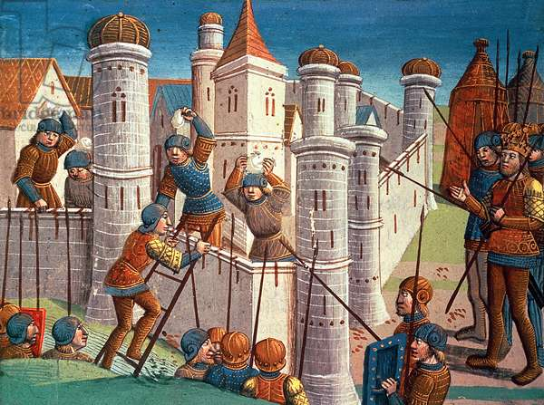 Scene from a battle defending Constantinople, from Ogier le Danois, 1499 (vellum)