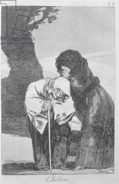 193-0082128 Hush, plate 28 of 'Los caprichos', pub. 1799 (etching)
