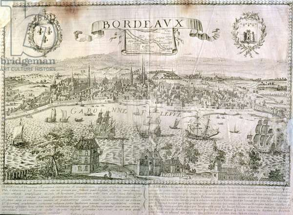 View of Bordeaux and the river Garonne, signed by Jollain (engraving)