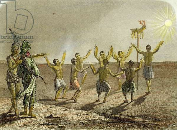 Sacrifice of a deer to the sun by the Indians of Florida, 1850 (hand-coloured engraving)
