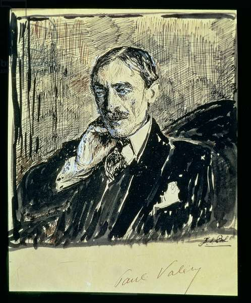 Portrait of the French Writer Paul Ambroise Valery (1871-1945) (ink on paper)