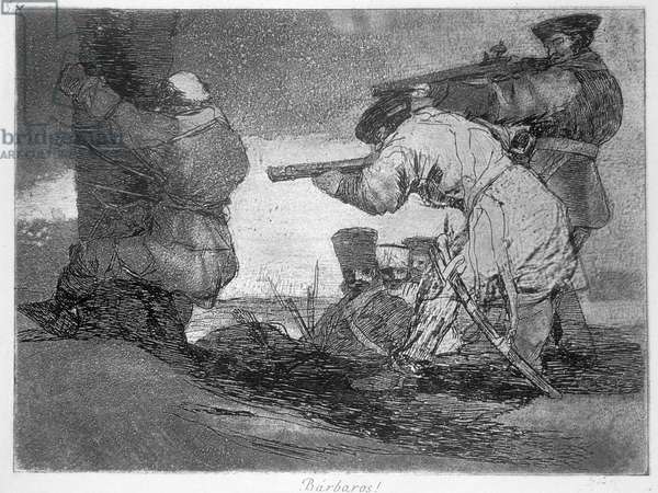 Barbarians!, plate 38 of 'The Disasters of War', 1810-14, pub. 1863 (etching)