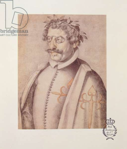 506 131-0793612/3 Portrait of Francisco Gomez de Quevedo y Villegas (1580-1645) from the 'Book of Description and Portraits of Illustrious and Memorable Men', 1599