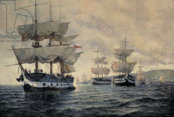 The Embarkation of the Liberating Expedition of Peru on the 20th August 1820, under the Command of Captain General Jose de San Martin (1778-1850) (oil on canvas)