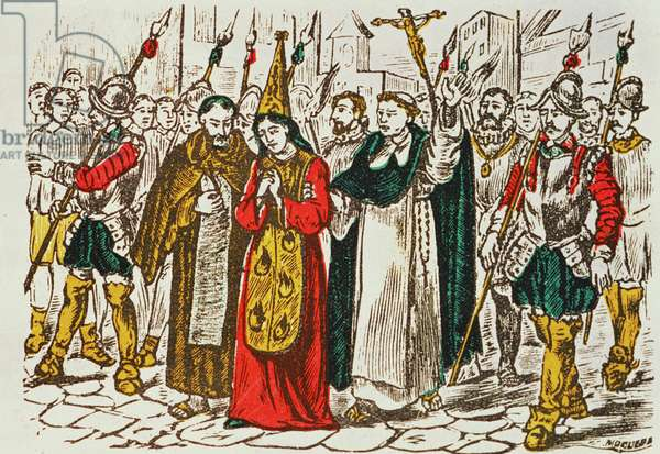 The Public Punishment of Prisoners by the Court of the Inquisition (coloured engraving)