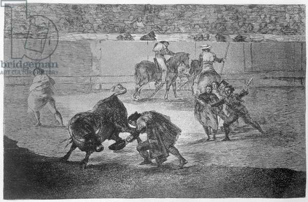 Pepe Hillo making the pass of the 'recorte', plate 29 of 'The Art of Bullfighting', pub. 1816 (etching)