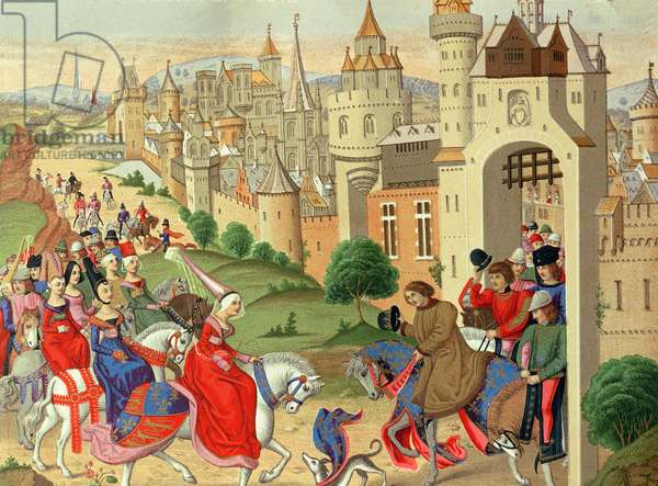 Isabella, Queen of England, is welcomed at the gates of Paris by her brother King Charles IV of France, from the manuscript 'Chroniques' (facsimile edition)