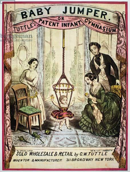 Poster advertising the 'Baby Jumper or Tuttle's Patent Infant Gymnasium', 1850 (colour litho)