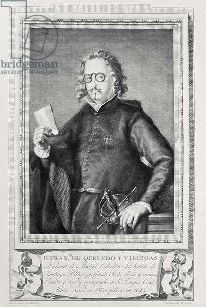 596 131-0793725/2 Portrait of Francisco Gomez de Quevedo y Villegas (1580-1645) engraved by Mariano Brandi for a collection of 'Illustrious Men' (engraving)