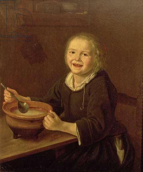 Boy eating Porridge (oil on canvas)